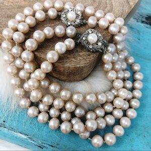 Vintage Pearl Necklace Bracelet Set Crystal Clasps